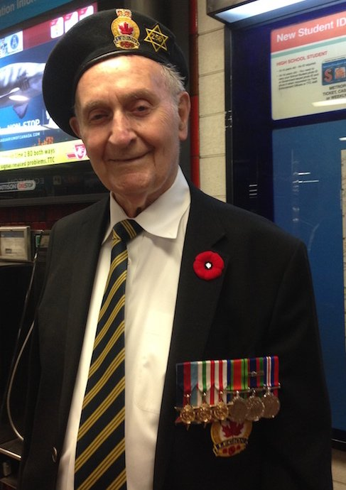 Veteran selling poppies for Remembrance Day